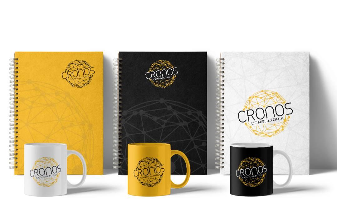 Canecas e cadernos para brinde - Cronos Consultoria