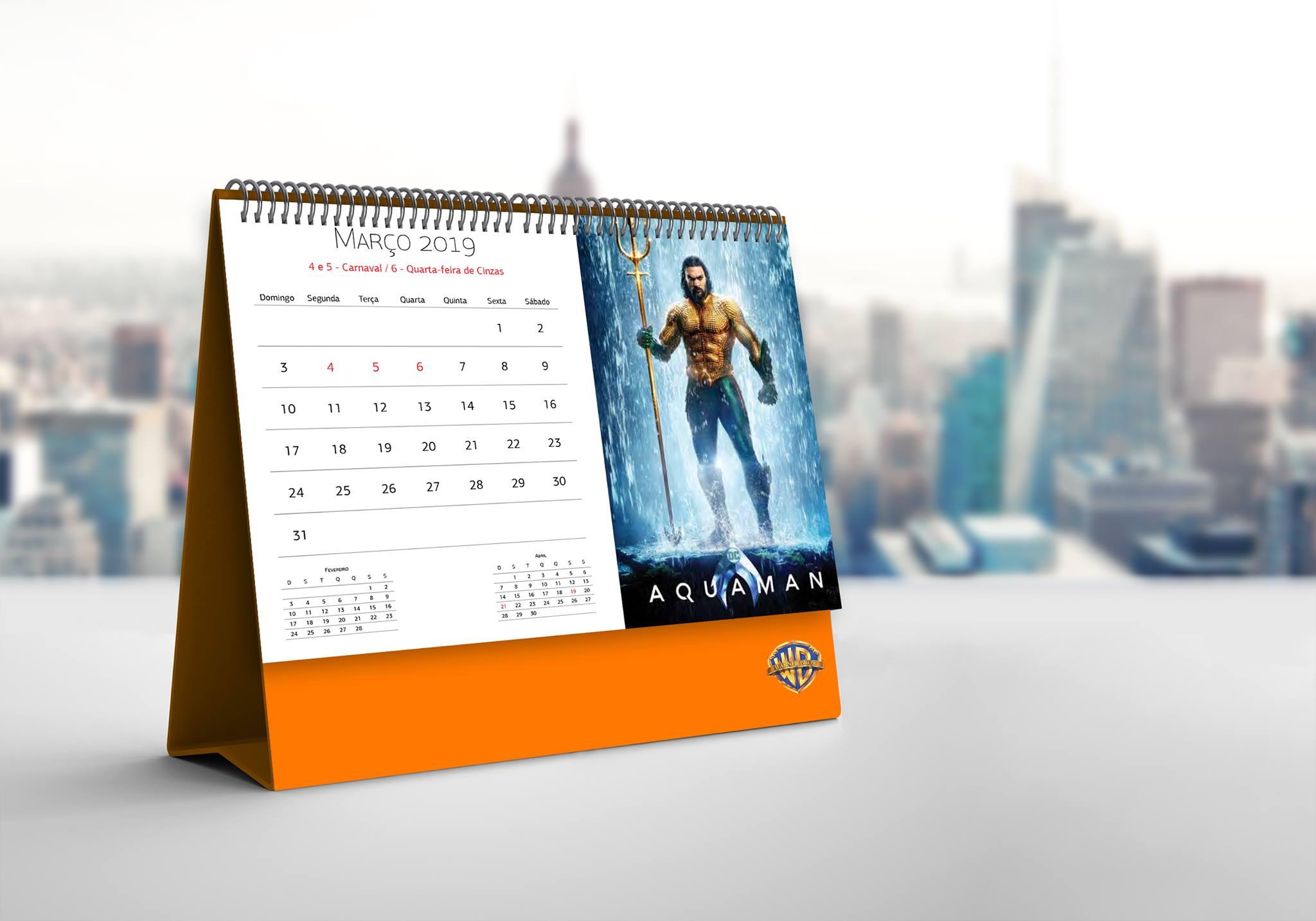 Criação de calendário para Warner Bros Brasil para o ano de 2019