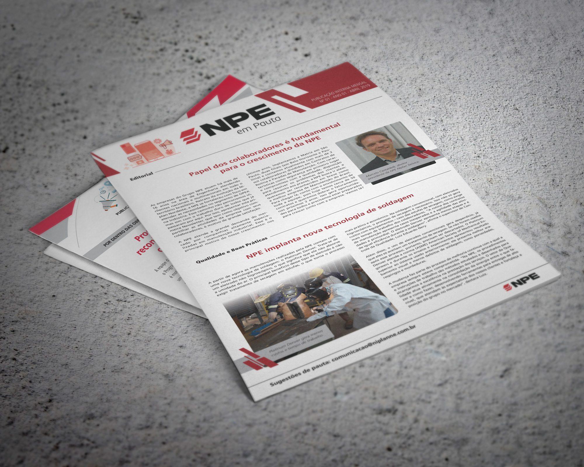 Desenvolvimento de projeto gráfico para newsletter informativa das empresas Niplan e NPE, com entregas de arquivos em PDF para impressão local e fixação nos murais de aviso das obras e entrega da versão eletrônica para disparo de e-mail com link para os blogs das empresas - comunicação interna que funciona.