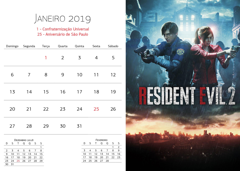 Calendário Warner Bros - Janeiro