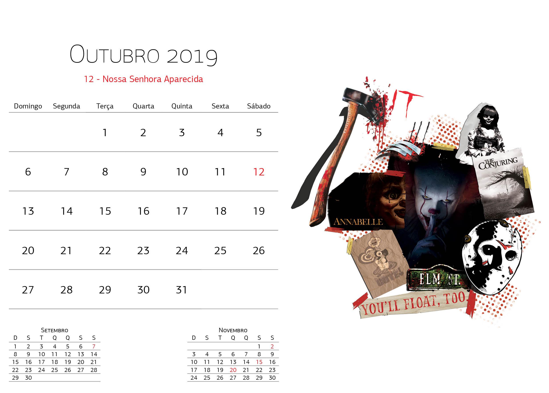 Calendário Warner Bros - Outubro