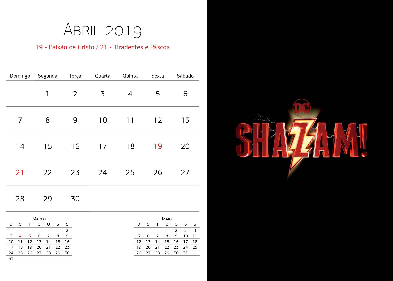 Calendário Warner Bros - Abril