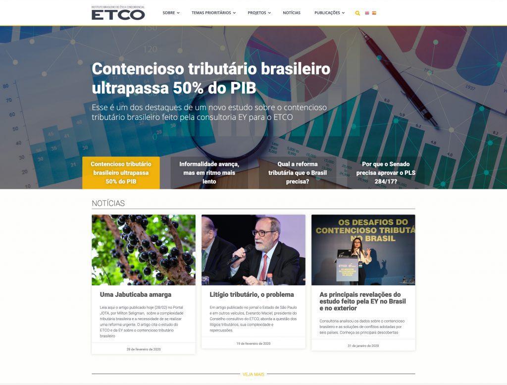 Site responsivo para ETCO - - Instituto Brasileiro de Ética Concorrencial. Qpix Creative Minds