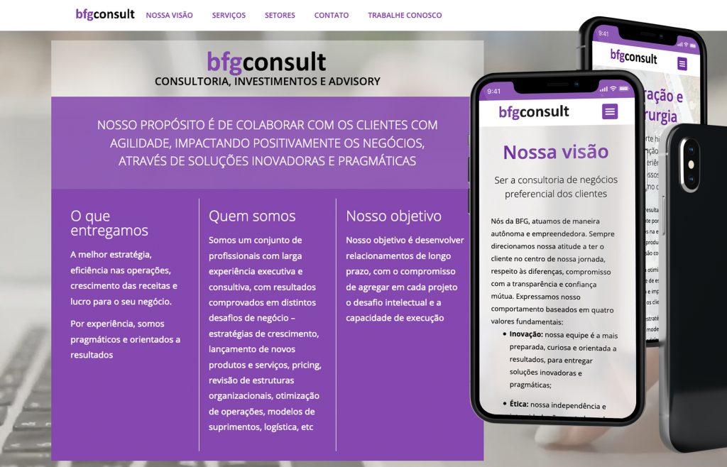 Site responsivo e multiidioma para BFG CONSULTORIA, INVESTIMENTOS E ADVISORY